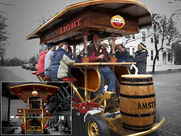 Part of Amstel's marketing efforts in New York will include Dutch-style bikes that will be pedaled between 72nd and 86th streets, including a 10-seat 'beer bike,' a foot-powered rolling bar of the sort found in Amsterdam.