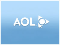 AOL's old logo, left; several representations of its new logo, right.