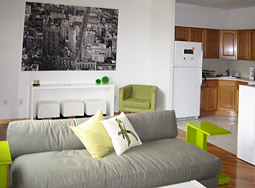 The three-bedroom apartment is fully furnished by Ikea and CB2.