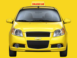 Chevrolet will offer free rides to college student on six campuses in a 2009 Chevy Aveo5, dubbed the 'College Cab,' as part of a new viral marketing effort.