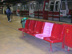 Subway station seats got the pink treatment to help raise breast cancer awareness.