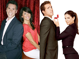 ABC is pairing its shows with contextual marketing partners such as Touchstone's Sandra Bullock comedy 'The Proposal' (right) with live wedding-proposal promos for 'The Bachelorette' (left).