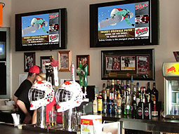 Bar Channel picks up the startup costs for its monitors and related equipment, and, in return, it takes most of the advertising time for itself.