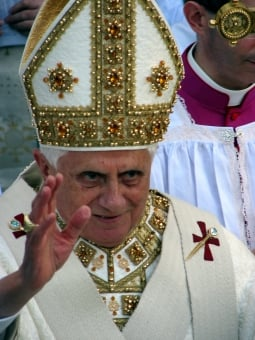 Pope Benedict XVI wearing a miter in 2008
