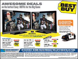 Best Buy is aggressively promoting high-definition TVs for the big game.