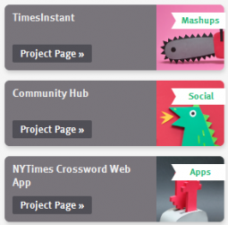 Three of the first projects on Beta620, The New York Times' new public beta site.
