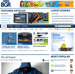 BGR website before (top) and after (bottom) the redesign.