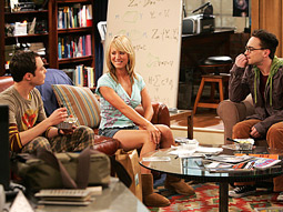 Sheldon (Jim Parsons), Penny (Kaley Cuoco), and Leonard (Johnny Galecki) get to know each other on CBS's 'Big Bang Theory.'