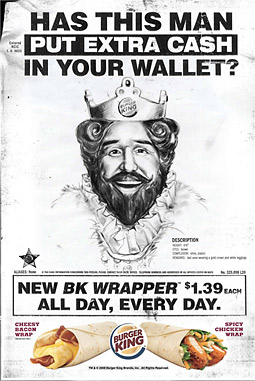 Burger King's new ads depict the King as a 'reverse pickpocketer' who puts money back into consumers' wallets.