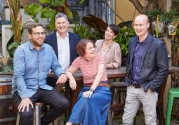 From left to right: Alex Derwin (ECD), Matt Melhuish (Executive Chairman), Christina Aventi (EPD), Claudia Gallardo (CFO) and Steve McArdle (MD).