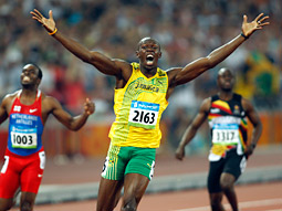 Jamaica's Usain Bolt won the gold medal for his almost improbable 19.3-second world record time in the 200-meter.