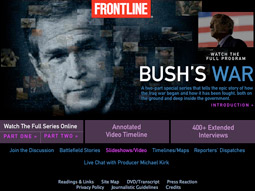 'Frontline's' airing this week of its definitive documentary, 'Bush's War,' marked the fifth anniversary of 'shock and awe' and filled the void of the network news divisions, which did not run any prime-time perspectives this week.