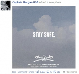 Captain Morgan opted for a simple Stay Safe message.