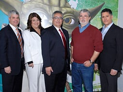 At the Cartoon Network upfront (from left): David Levy, president of Turner Broadcasting Sales; Beth Goss, exec VP-ad sales, marketing and enterprises, Cartoon Network; Stuart Snyder, president-COO of Turner Animation, Young Adults & Kids Media; George Lucas, creator,