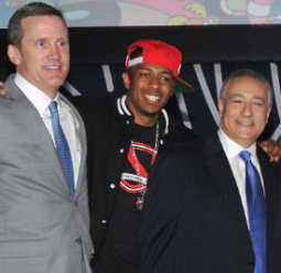 Turner Broadcasting Sales Exec VP Joe Hogan, entertainer Nick Cannon and Cartoon Network President-COO Stuart Snyder at the Cartoon Network upfront