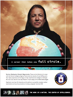 The careers section of the CIA website includes print ads with the tagline 'The work of a nation. The center of intelligence.'