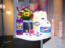 Clorox products on the set of a Univision show. The two kick off a year-long branded entertainment deal this Saturday night.