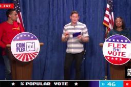 Complex Media runs a quick quiz show during its coverage.