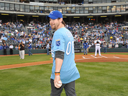 David Cook sporting a Kansas City Royals uniform.