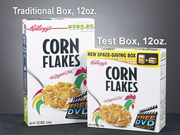 The new packaging contains the same amount of food, but the shorter, fatter design is expected to fit into pantries more easily.