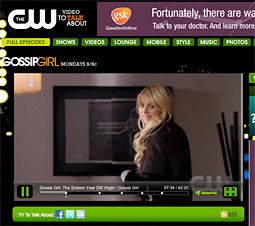 Hulu runs significantly fewer ads than one would see watching TV, but CW shows like 'Gossip Girl' can only be seen at cwtv.com.