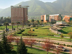 View of Ciudad Empresarial office park on the outskirts of Santiago.