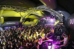 Duracell kept the music going in more ways than one by always being the last booth to close at concert events.