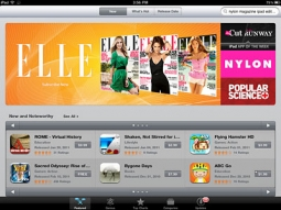 Elle, Nylon and Pop Sci subscriptions are being featured in the iPad App Store.