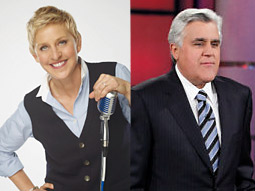 Ellen DeGeneres (left) made her first appearance on 'Idol' and Jay Leno (right) had his last prime time show on NBC.