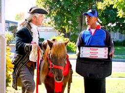 In one of the spots, Mr. Palochak throws a Revolutionary War-themed party for New England Patriots fans.