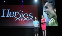 Soccer analyst Julie Foudy (l) and Hannah Storm discuss 'HERoics' at the ESPN Upfront.