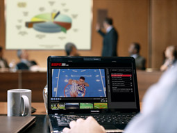 ESPN helped Toshiba create new ads that illustrate specifically how ESPN fans could use the brand's products.