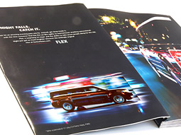 On the inside cover is the first E-Ink ad for Ford Flex, which is only animated to the extent that the background behind the picture of the crossover SUV lights up in succession from left to right.