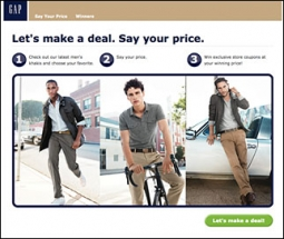 Gap's CEO said efforts like gapmyprice is an attempt at 'more surgical' promotional activity.