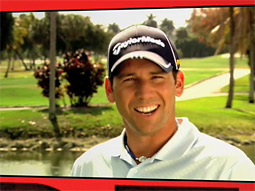 Sergio Garcia appears in a Golfsmith ad that promises a refund to consumers who buy a TaylorMade driver if he wins The Masters.