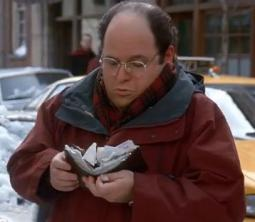 'Seinfeld' character George Costanza with his huge wallet.