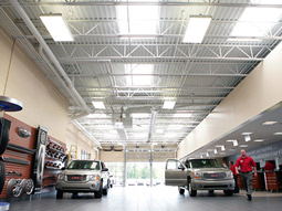 LaFontaine Automotive Group's 64,000-square-foot facility in suburban Detroit has 85 skylights to tap into natural light and reduce light bills.