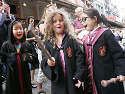 Fans of the J.K. Rowling series dress as their favorite characters.