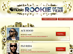 MySpace Music is hosting the Hot 16 contest on its MySpace Hip Hop home page, as well as its own award category, the 'MySpace Rookie of the Year,' honoring the year's best freshman rapper.