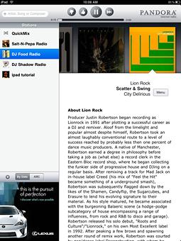 A Lexus ad appears in Pandora's iPad app.