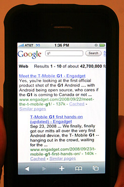 Search results for 'G1' on an iPhone.