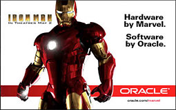 Billboard work from Oracle playing up its connection with 'Iron Man 2.'