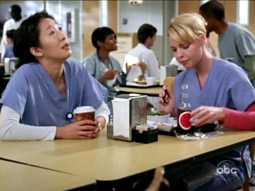 Heigl's 'Grey's Anatomy' character Izzie Stevens (right) about to enjoy an Izze Sparkling Pomegranate fruit beverage.