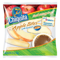Chiquita Apple Bites With Caramel are offered in Jack in the Box kids' meals.