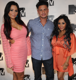Jenni 'JWoww' Farley, Paul 'Pauly D' Delvecchio and Nicole 'Snooki' Polizzi at the MTV Upfront