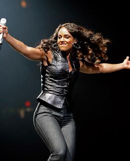 Alicia Keys performing at New York's Madison Square Garden last night.