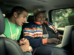 Sean Kingston (on the right) from the video to his Intel-backed song. His manager says the rapper 'communicates with technology.'