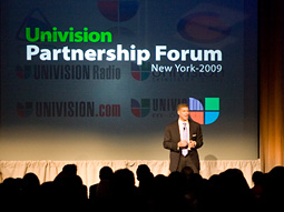 David Lawenda, Univision's president-ad sales and marketing, speaks at a Univision 'Partnership Forum.'