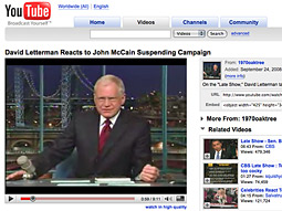 YouTube video of Mr. Letterman's tirade against Mr. McCain has generated more than 3.5 million views.