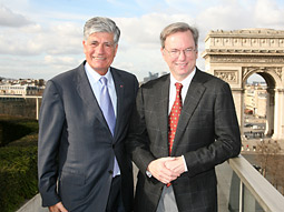 Maurice Levy, chairman-CEO of Publicis Groupe and Eric Schmidt, CEO, Google